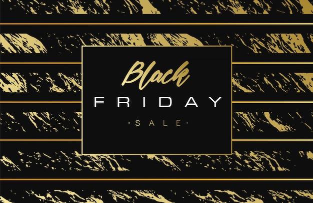Fond noir vendredi vente vente bannière d'or