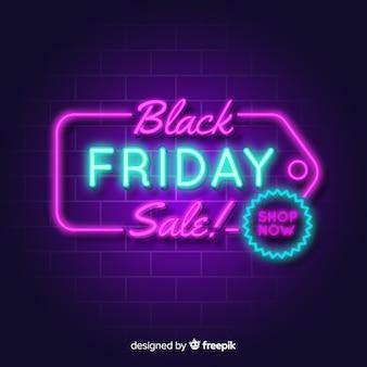 Fond noir vente vendredi néons