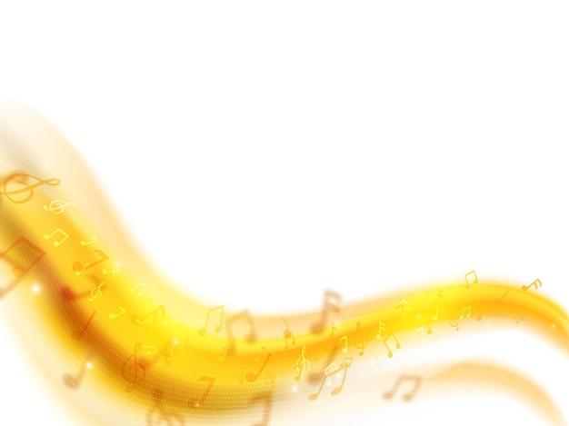 Fond de notes de musique vague abstraite en couleur blanche et dorée.