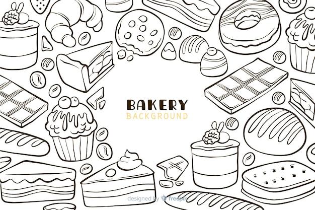 Fond de nourriture de boulangerie dessiné à la main