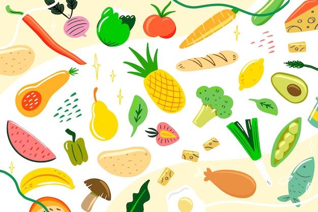 Fond de nourriture colorée organique et végétarienne