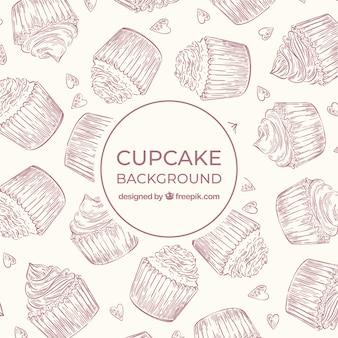 Fond de nourriture avec des cupcakes