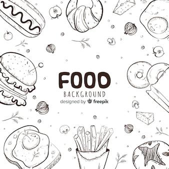 Fond de nourriture dessiné à la main