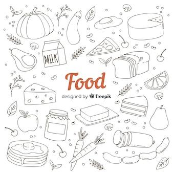 Fond de nourriture dessinés à la main doodle
