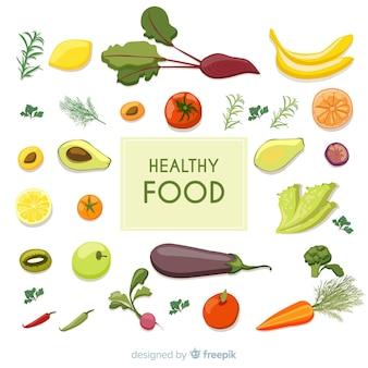 Fond de nourriture fraîche bien rangé