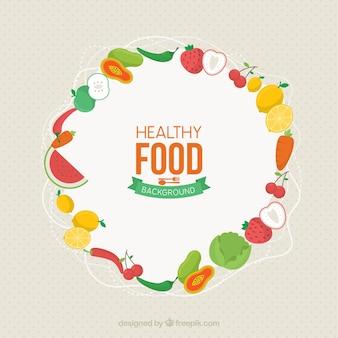 Fond de nourriture avec des fruits et légumes