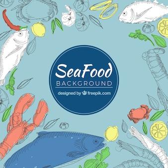 Fond de nourriture avec des fruits de mer