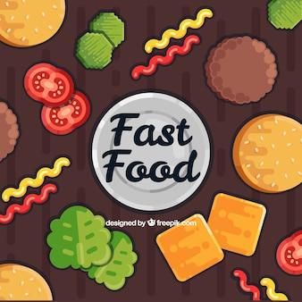 Fond de nourriture avec des ingrédients de hamburger