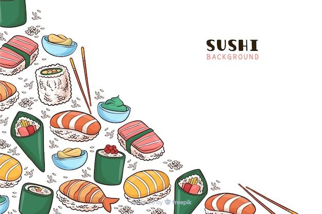 Fond de nourriture japonaise dessiné à la main