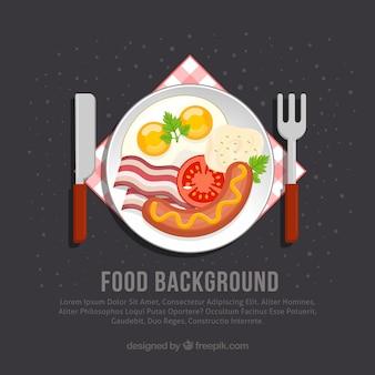 Fond de nourriture avec petit déjeuner