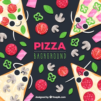 Fond de nourriture avec des pizzas mignonnes