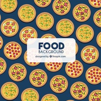 Fond de nourriture avec des pizzas