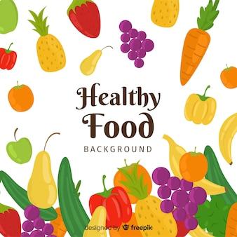 Fond de nourriture saine dessiné à la main