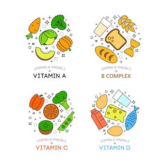 Fond de nourriture saine représentant. icônes de fruits et légumes