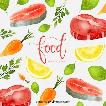 Fond de nourriture avec style aquarelle