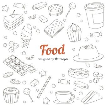 Fond de nourriture sucrée doodle dessiné à la main