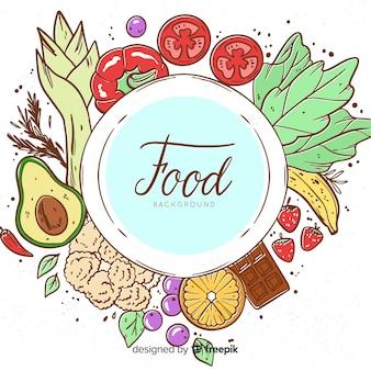 Fond de nourriture végétale dessiné à la main
