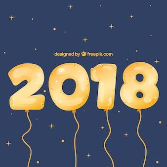 Fond de nouvel an 2018 avec des ballons