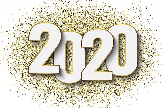 Fond de nouvel an 2020 avec des confettis de paillettes d'or