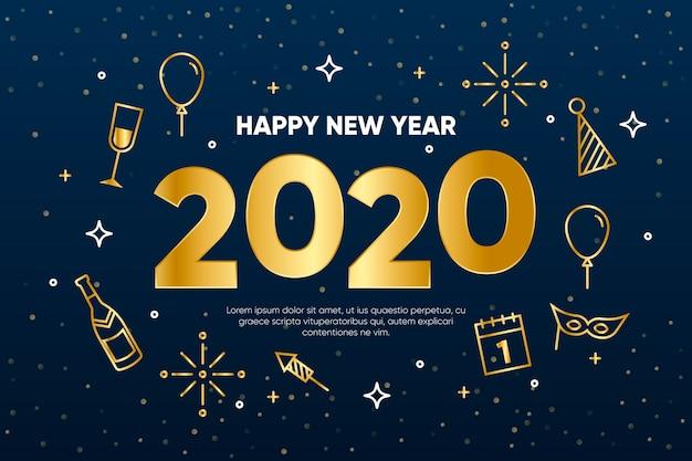 Fond de nouvel an 2020 dans le style de contour