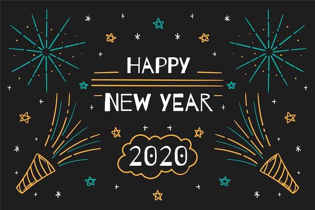 Fond de nouvel an 2020 dessiné à la main