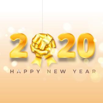 Fond de nouvel an 2020 avec noeud cadeau doré