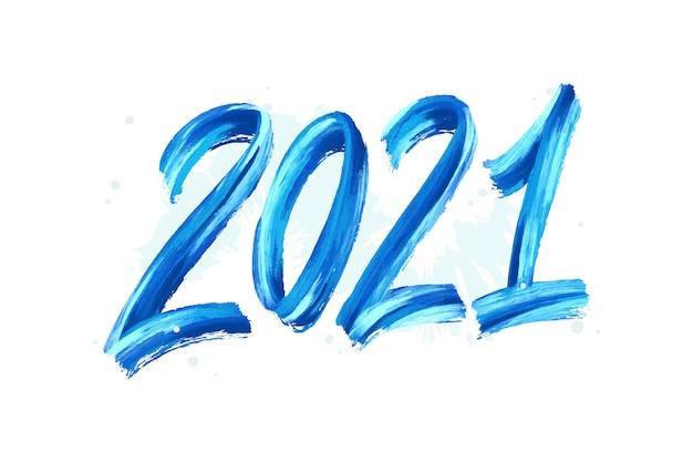 Fond de nouvel an 2021 aquarelle coup de pinceau bleu