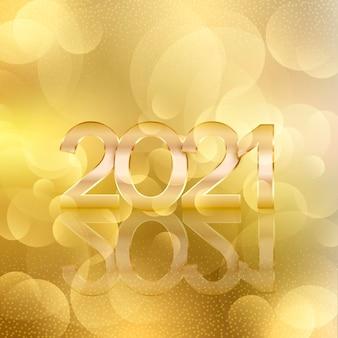 Fond de nouvel an 2021 bokeh doré