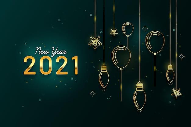 Fond de nouvel an 2021 avec décoration dorée réaliste