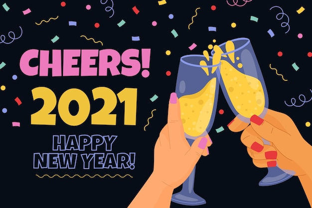 Fond de nouvel an 2021 dessiné à la main