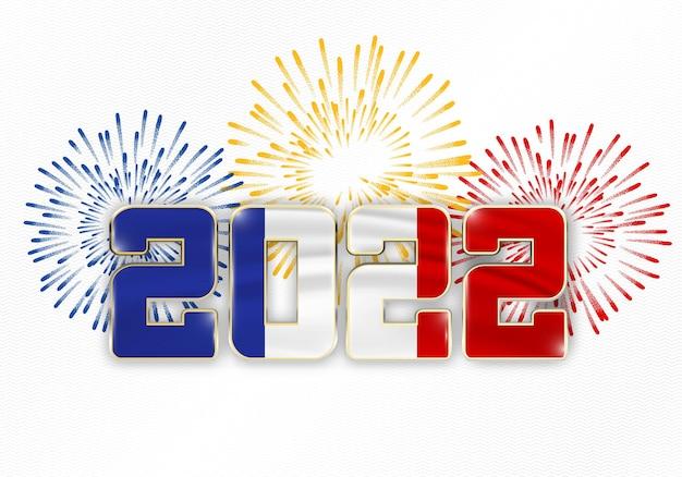 Fond de nouvel an 2022 avec le drapeau national de la france et des feux d'artifice