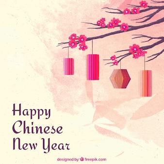 Fond de nouvel an aquarelle chinoise