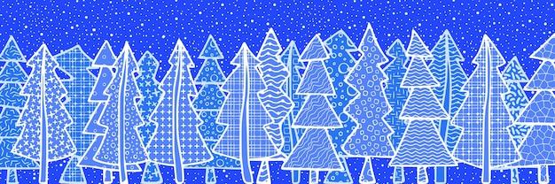 Fond de nouvel an, bannière, forêt stylisée, différentes textures