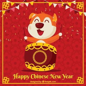 Fond de nouvel an chinois avec un chien ludique
