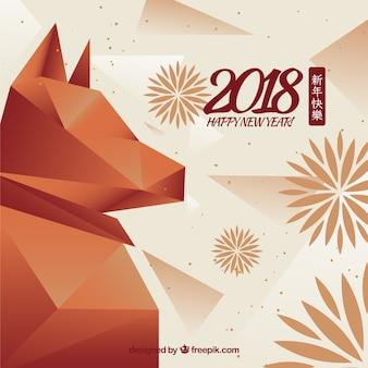 Fond de nouvel an chinois avec un chien polygonal