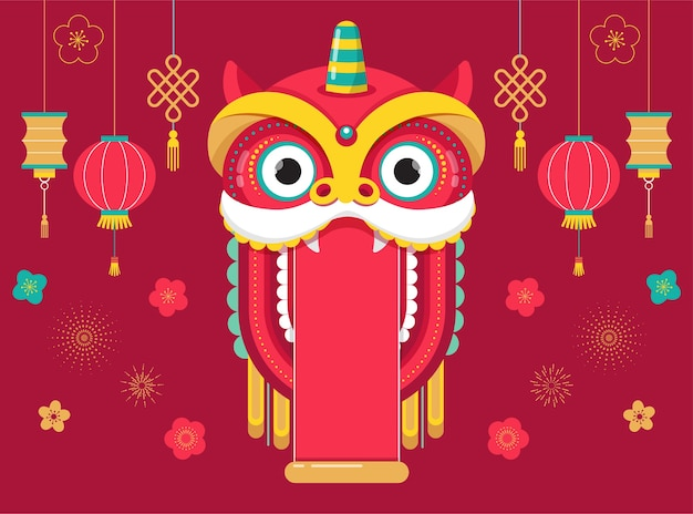 Fond de nouvel an chinois, avec dragon rouge