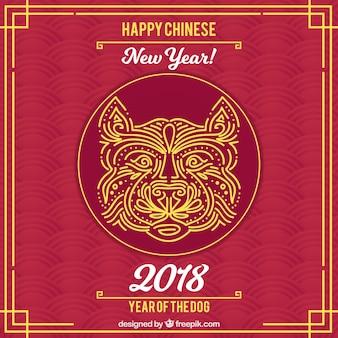 Fond de nouvel an chinois rouge foncé avec visage de chien
