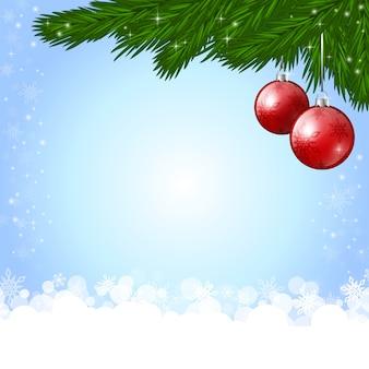 Fond de nouvel an avec une décoration de noël rouge