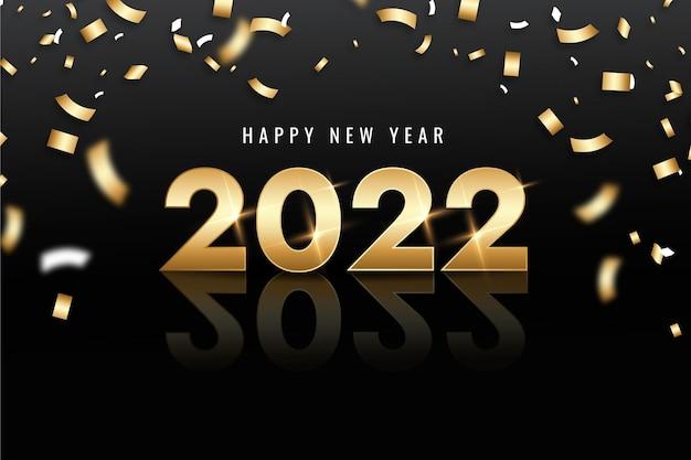 Fond de nouvel an dégradé avec de l'or