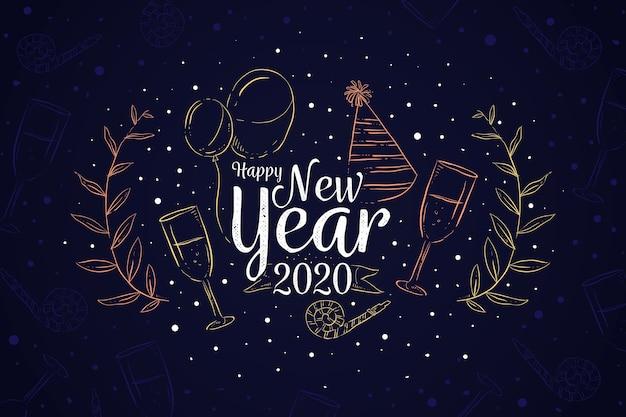 Fond de nouvel an dessiné à la main