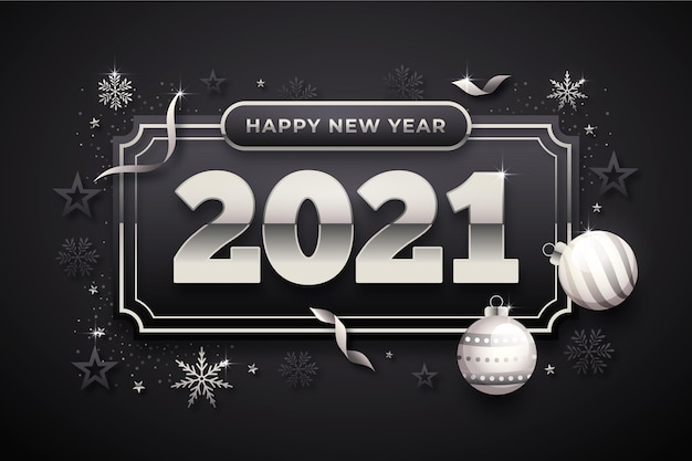 Fond de nouvel an avec des éléments en argent