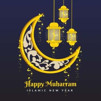 Fond de nouvel an islamique heureux muharram