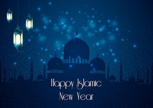 Fond de nouvel an islamique avec mosquée et lampe