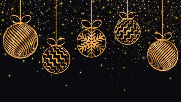 Fond de nouvel an jouets de noël doré