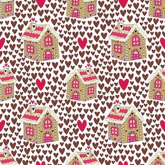 Fond de nouvel an avec la maison et les cœurs de pain d'épice. modèle sans couture cookie de bonbons