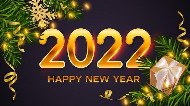 Fond de nouvel an avec des nombres d'or 2022 branches de pin cadeaux boîte paillettes flocon de neige clinquant