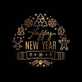 Fond de nouvel an or avec des icônes de ligne. insigne de nouvel an dans l'illustration de style art linéaire