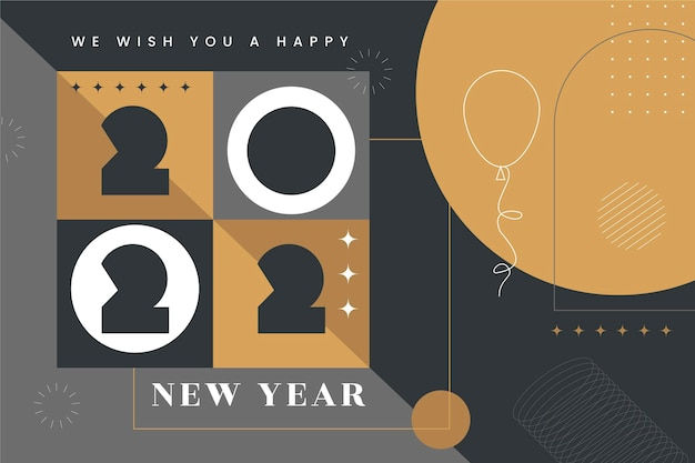 Fond de nouvel an plat dessiné à la main