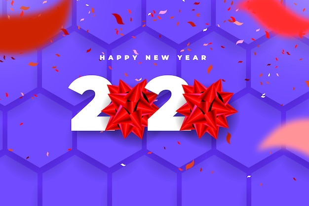 Fond de nouvel an réaliste 2020 avec noeud cadeau rouge