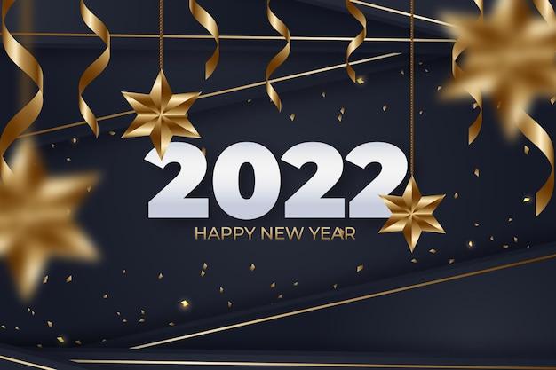 Fond de nouvel an réaliste avec de l'or